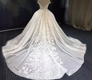 Luxury Sequins Lace Wedding Dresses 2020 3D Flower Ivory Shiny Beading Ball Gown Bridal Gowns Dress Dubai - LiveTrendsX