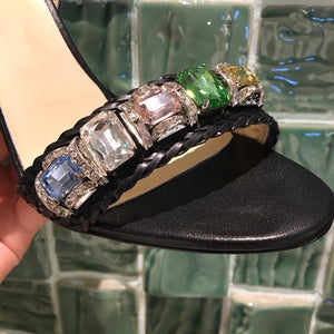 Fashion Summer High Heel Sandals Rough Fish Head Open-toed Sandals Sexy Crystal Women's Shoes Genuine Leather Women's Sandals - LiveTrendsX