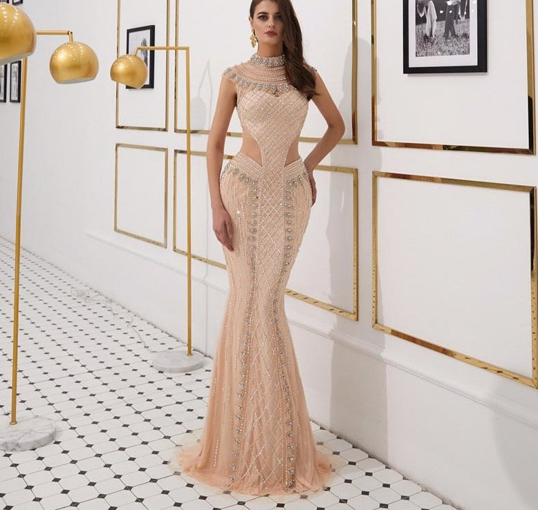 Nude Gold High Collar Sexy Evening Dresses 2020 Sleeveless Luxury Diamond Sparkle Evening Gowns