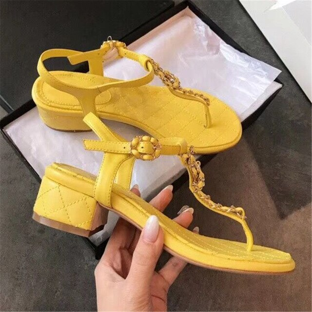 New Summer Sweet Women's Sandals Classic Chain Low Heels Women's Shoes Office/Outside Soft Comfortable Ladies Casual Shoes - LiveTrendsX