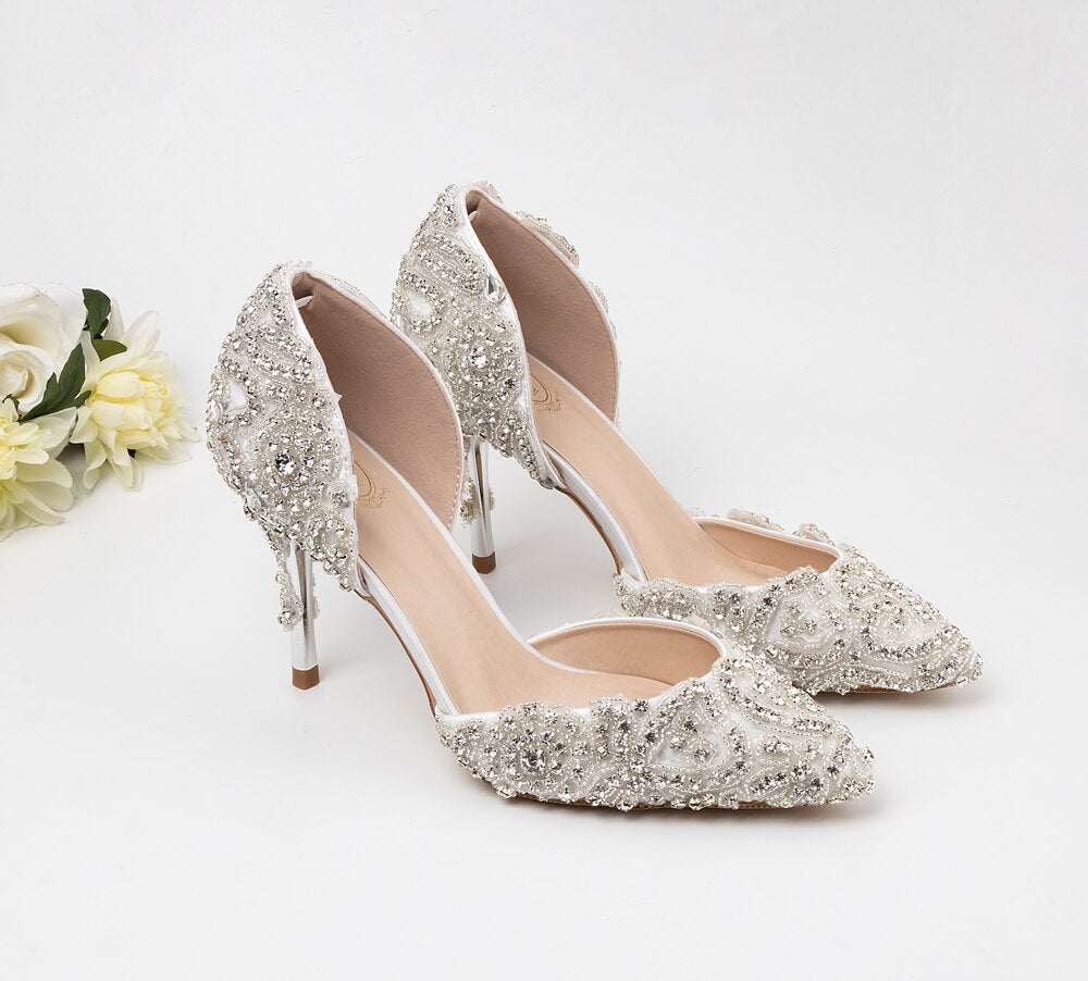 High heels silver and luxury sparkling rhinestone handmade custom wedding shoes 9cm banquet reception party ladies shoes - LiveTrendsX