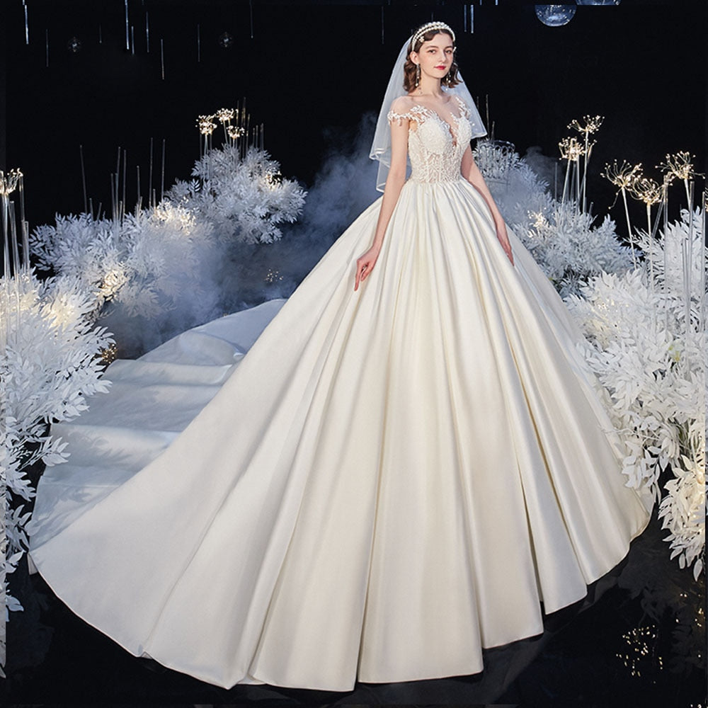 Beading Appliques Best France Satin Wedding Dresses With Chapel Train \Robe Mariage Lace Up Princess Bridal Gowns - LiveTrendsX