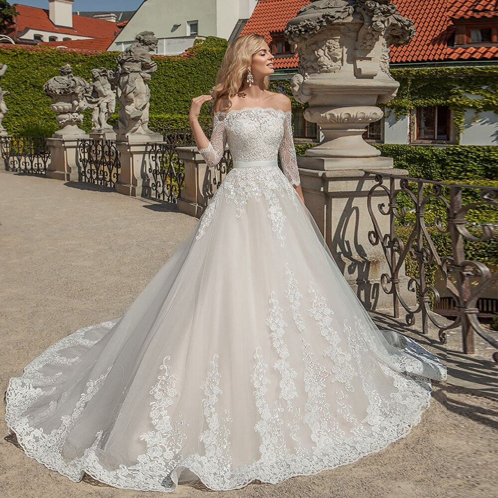 Princess A-line Wedding Dress Three Quarter Sleeve Brautkleid Boat Neck Lace Appliques Tulle Bridal Gowns - LiveTrendsX