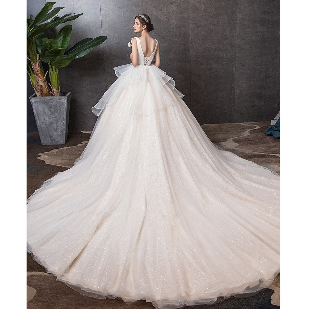 Custom Made Shiny Ball Gown Wedding Dress  Vestido Blanco V-neck Lace Up Princess Bridal Dresses Hochzeitskleid - LiveTrendsX