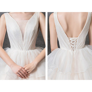 Custom Made Shiny Ball Gown Wedding Dress  Vestido Blanco V-neck Lace Up Princess Bridal Dresses Hochzeitskleid