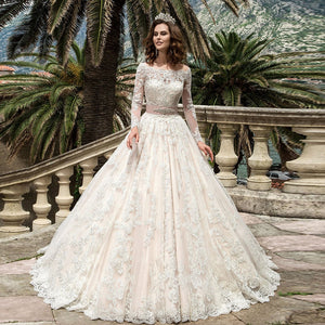 Custom Made All Over Appliques Wedding Dresses Long Sleeve Vestido Blanco Beading Crystal Belt Princess Wedding Gowns Bodas - LiveTrendsX