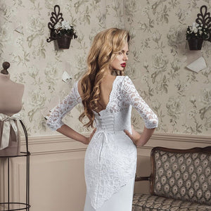 New Special Beading Crystal Lace Satin Mermaid Wedding Gowns Half Sleeve Vestido De Noiva Sereia White Trumpet Bride Dress - LiveTrendsX