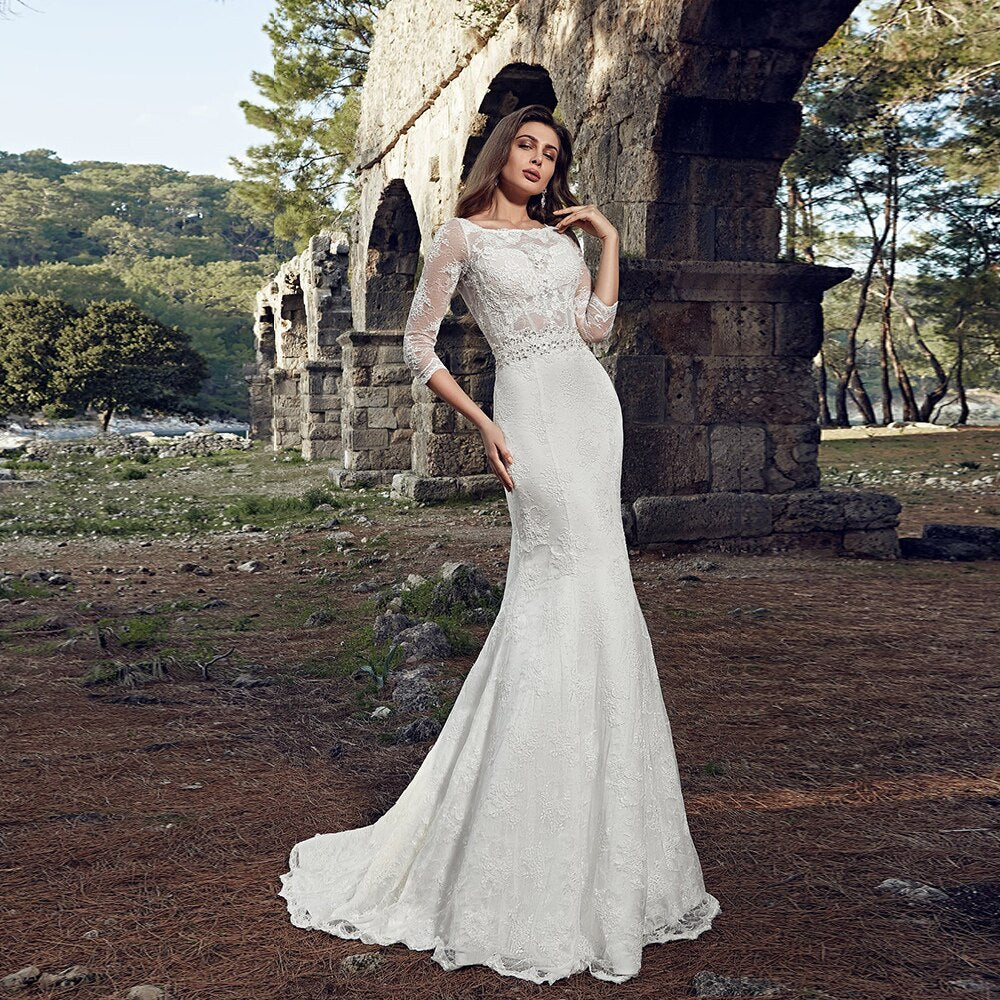 Half Sleeve Lace Mermaid Wedding Gowns Vestido De Novia Sirena Crystal Waist Button Up Bow Trumpet Bridal Dresses