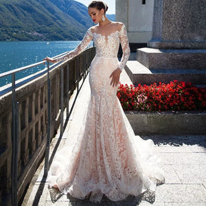 Custom Made Long Sleeve See Through Illusion Mermaid Wedding Dress Vestido De Noiva Sereia Buttons Up Lace Elegant Trumpet Gowns - LiveTrendsX
