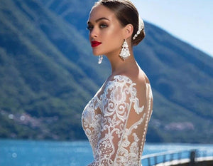 Custom Made Long Sleeve See Through Illusion Mermaid Wedding Dress Vestido De Noiva Sereia Buttons Up Lace Elegant Trumpet Gowns