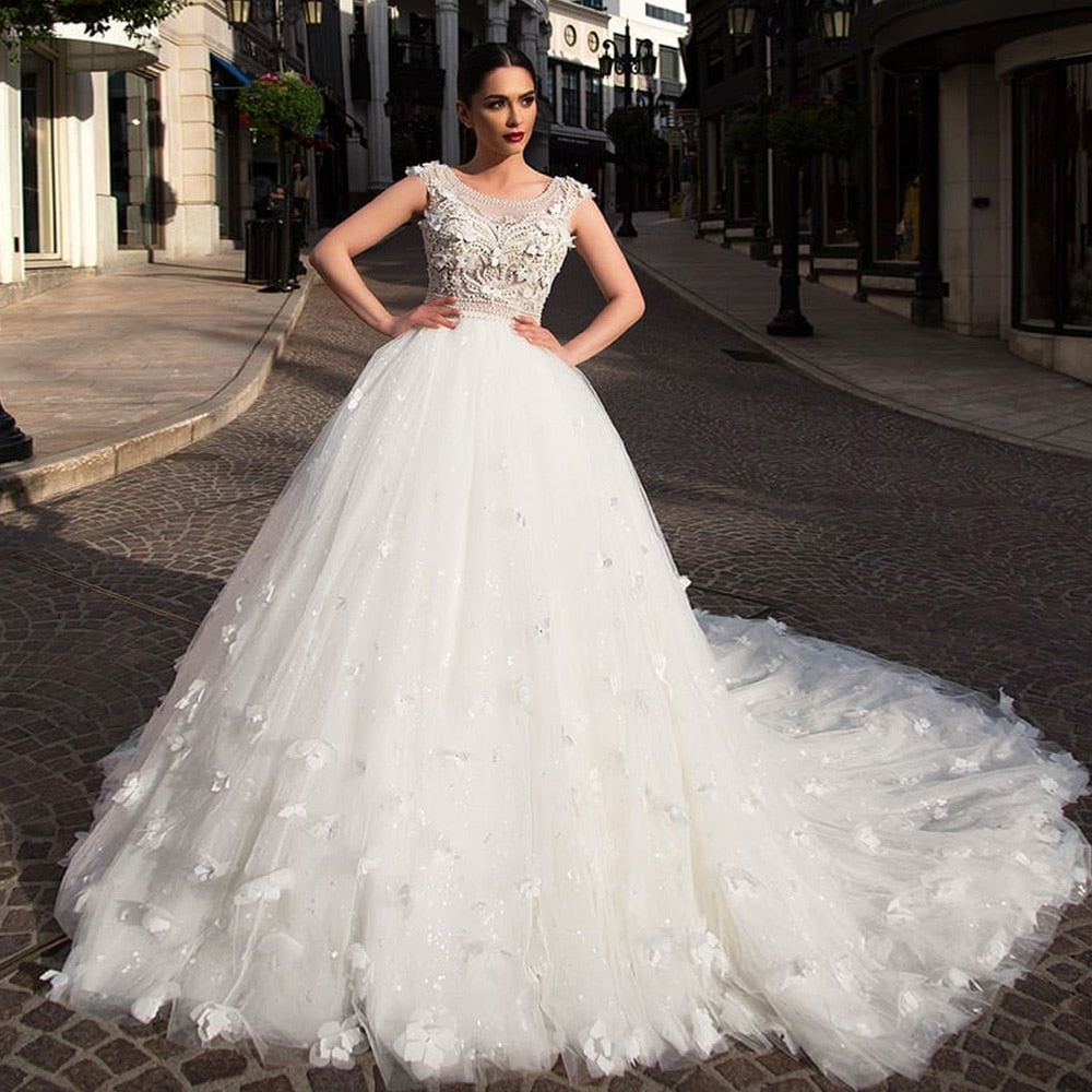 Flowers Ball Gown Wedding Dress With Picture Veil Suknia Slubna Buttons Up Back Full Pearls Body Tulle Dresses Robe De Mariage - LiveTrendsX