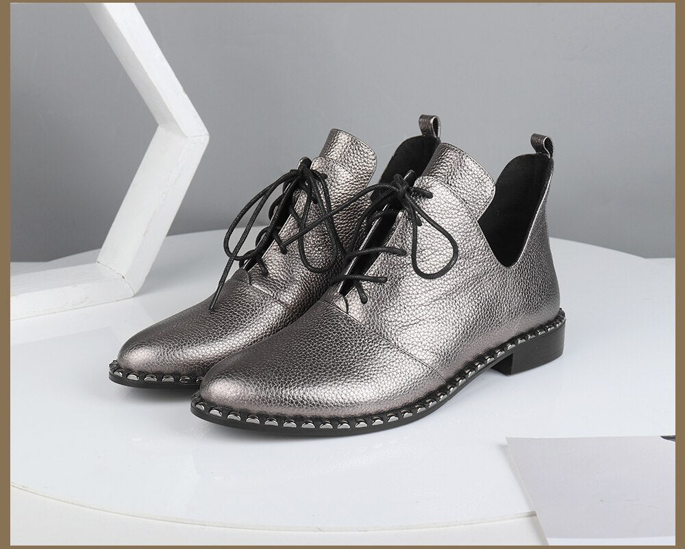 Fashion New Flats Special Design High Quality Genuine Leather Lace-up Sexy Pointed Toe Shoes Comfortable Flats