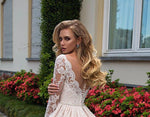 Gorgeous Ball Gown Wedding Dress Long Sleeve Plus Size Vestido Blanco Scalloped Neck Buttons Up Appliques Wedding Gowns Elegant - LiveTrendsX