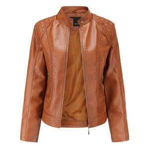 new leather jacket women spring autumn OL stand collar  motor biker coat pu outwear fall jacket black red - LiveTrendsX
