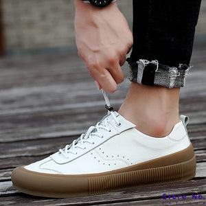 Sneakers Men Shoes Genuine Leather Top Quality Original Brand Autumn Casual Men Shoe Simple White Sneakers Comfortable Men Flats - LiveTrendsX