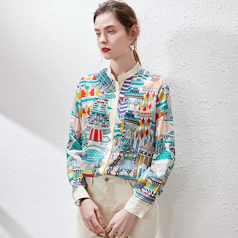 High Quality 100% Silk Blouse Women Shirt Floral Print Stand Neck Long Sleeves Casual Tops Elegant Style New Fashion - LiveTrendsX