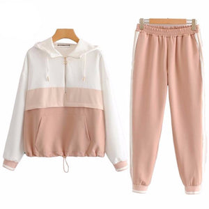 Set Female Vintage Contrast Color Baseball Bomber Pullover Jacket Women Tops and Pencil Jogging Pants Suits Two Piece Sets - LiveTrendsX
