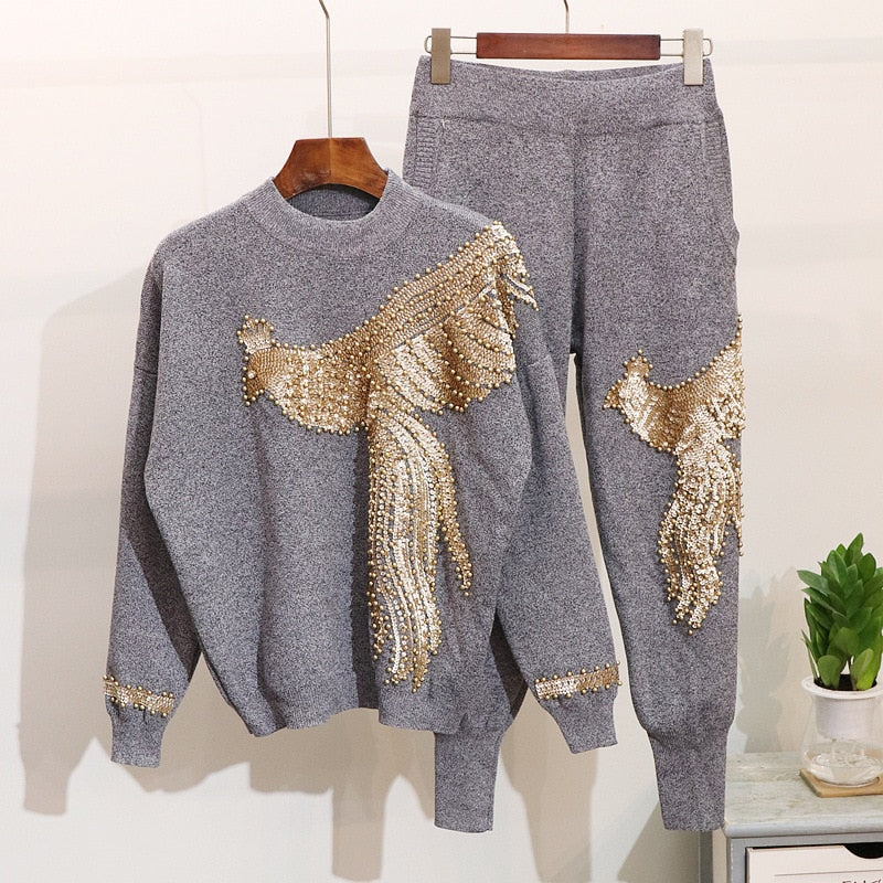 Fashion Sequined Embroidered Knit Women Suit  New Autumn Winter Tracksuit 2 Piece Set Loose Long Sleeve Sweater Knit Pants - LiveTrendsX
