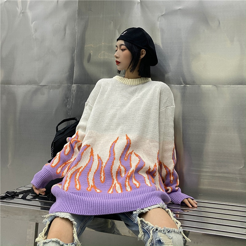 Sweater Couple Hip Hop Oversized Knitting Pullover Women Flame Casual Autumn Winter Men Women Loose Fashion Tops Unisex - LiveTrendsX
