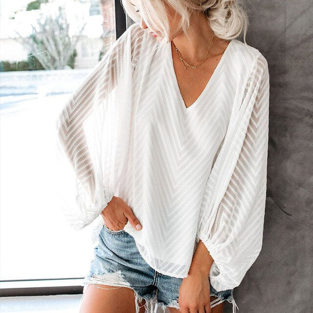 Women's V-neck Blouse Transparent Lantern Sleeve Patchwork Ladies Blouses Tops 2020 Summer Casual Female White Black Top Female - LiveTrendsX