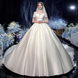 Best France Satin Ball Gown Wedding Dress With Chapel Train  Vestido Noiva Short Sleeve Wedding Gowns - LiveTrendsX