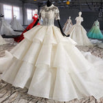 ball gown wedding dress plus size bead crystal o-neck short sleeves wedding gowns for bride with sleeve vestido novia - LiveTrendsX