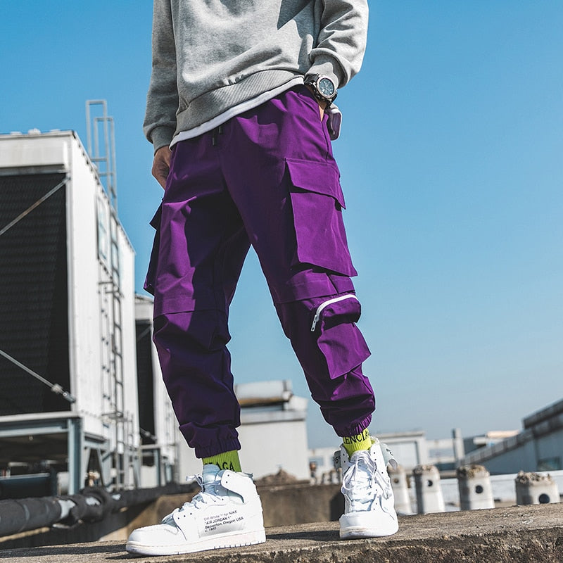 Cargo Pants Men Cotton Drawstring Many Pockets Joggers Trousers Purple Black Ankle Banded male Casual Pants - LiveTrendsX