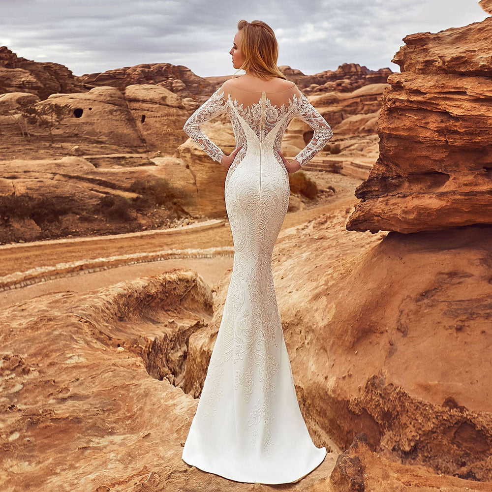 Long Sleeve Lace Mermaid Wedding Dresses With Removable Tail Vestido De Novia Sirena Wedding Gowns - LiveTrendsX