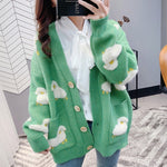 2020 Autumn New Knit Female Cardigan Loose Streetwear Knit Sweater Coat Cute Cartoon Print V Neck knitted cardigan Women Jacket - LiveTrendsX