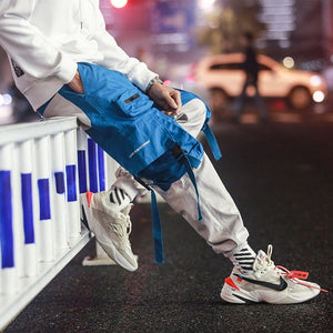 Pants Black Ribbons Block Multi-Pocket 2020 Harem Joggers Harajuku Sweatpant Hip Hop Casual Male Trousers