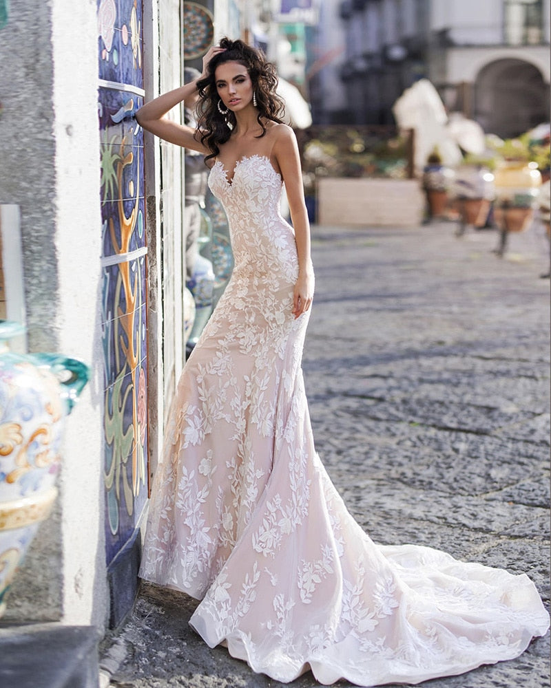Mermaid Wedding Gowns 2020 Vestido De Novia Sirena See Through Crystal Up Back Lace Elegant Trumpet Bridal Dress Gelinlik