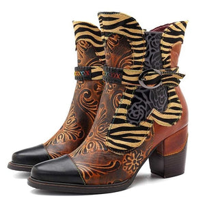 Retro Printed Cowgirl Ankle Boots Women Spring Patchwork Horsehair Genuine Leather Women Boots Shoes Woman Zipper Booties - LiveTrendsX