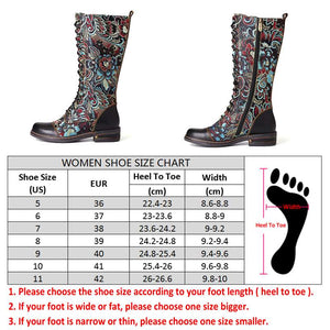 Flowers Pattern Colorful Stitching Elegant Zipper Lace Up Flat Mid Calf Boots Elegant Shoes Women Shoes Botas  Mujer - LiveTrendsX