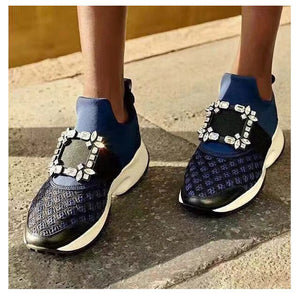Crystal women sneakers slip on platform genuine leather women casual shoes