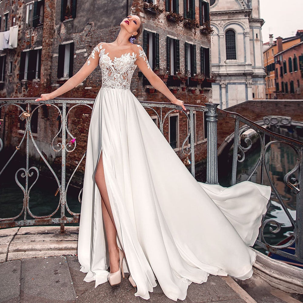 New Arrivals Half Sleeve Appliques Satin Illusion Wedding Gowns Vestido Casamento Buttons Up Skirt Slit Sexy Bridal Dresses