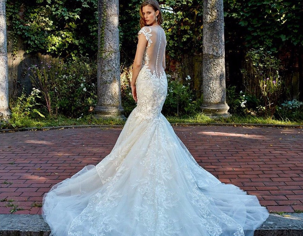 Beading Crystal Appliques Lace Mermaid Wedding Dress Vestido De Noiva Sereia Pearls Up See Through Illusion Trumpet Bridal Gowns - LiveTrendsX