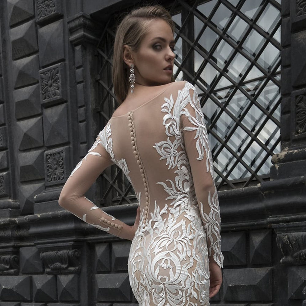 Ivory Lace Champagne Lining Satin Elegant Long Sleeve Mermaid Wedding Dresses Vestido De Noiva Sereia New Style Trumpet Gowns