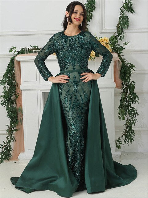 Green One Shoulder Long Sleeves   Sequeined Evening Dresses Luxury Fashion Sexy With Train Evening Gowns 2020