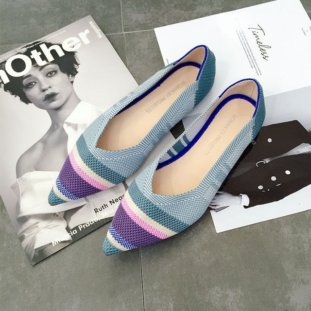 Color Casual Women Soft Shoes Breathable Knit Pointed Shoes Women's Flat Shoes Ballet Single Shoes Comfortable Pregnant Shoes
