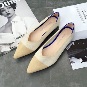 Color Casual Women Soft Shoes Breathable Knit Pointed Shoes Women's Flat Shoes Ballet Single Shoes Comfortable Pregnant Shoes - LiveTrendsX
