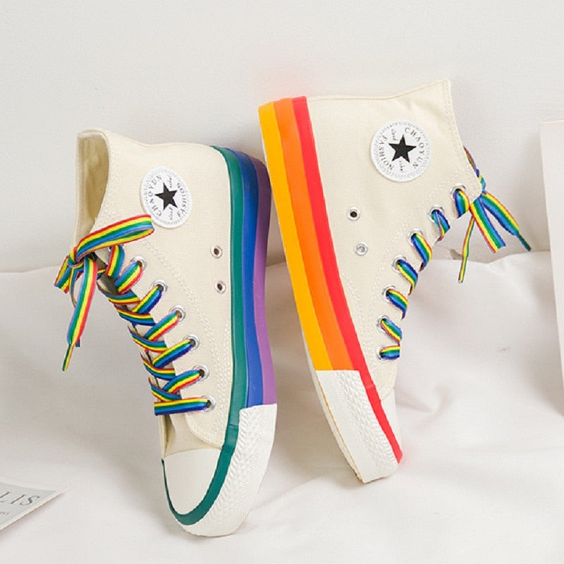 Rainbow Bottom Casual Shoes Woman High Top Sneakers Cavans 2020 Spring Female Casual Shoes White Canvas Sneakers Oman - LiveTrendsX
