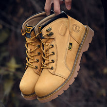 Load image into Gallery viewer, Top Quality Genuine Leather Men Shoes Winter Waterproof Ankle Boot Riding Boots Men Full Grain Cow Leather Outdoor Working Boots - LiveTrendsX