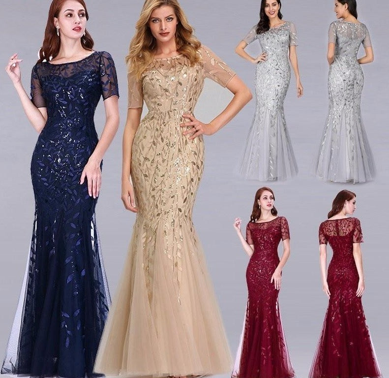 Formal Evening Dresses 2020 Ever Pretty New Mermaid O Neck Short Sleeve Lace Appliques Tulle Long Party Gowns