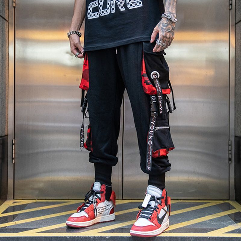 Men Hip Hop Black Cargo Pants joggers Sweatpants Overalls Men Ribbons Streetwear Harem Pants Women Fashions Trousers - LiveTrendsX