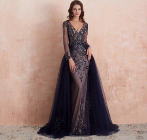 A Line Beading Evening Dress 2020 Long Elegant Formal Dresses Long Sleeve Gown - LiveTrendsX