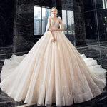 Supper Gorgeous Shiny Crystal Lace Ball Gown Wedding Dress Wih Chapel Train 2020 V-neck Bow Shoulder Princess Bridal Dresses - LiveTrendsX