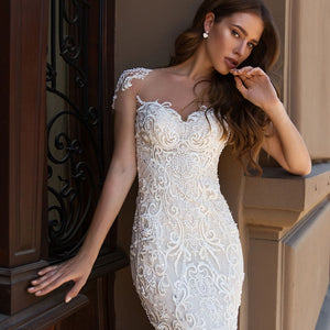 Elegant Mermaid Wedding Dresses Boho Vestido De Novia Sirena Sexy Open Back Short Sleeve Beading Sequined Lace Slim Bride Gowns - LiveTrendsX