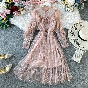 New 2020 Spring Autumn Women Dress Long Sleeve Ruffles Mesh Half Turtleneck A High-end French Lace Dresses Black Mint - LiveTrendsX