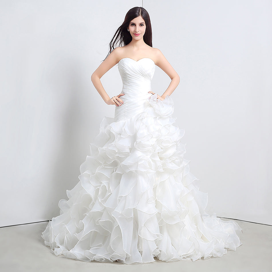 Fashion Ruffles Organza Wedding Dress  Sweetheart Neckline White Ball Gown Bridals Party Dresses Real Sample Lace up back