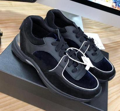 Luxury Fashion shoes Black Grey True leather Suede Calfskin Low Lace Up Sneaker Runners Trainers - LiveTrendsX